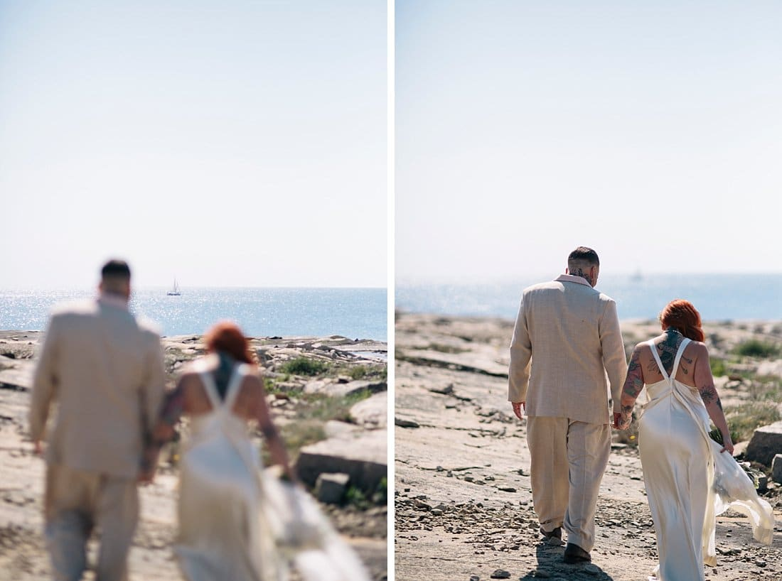 bröllopsporträtt havet segelbåt